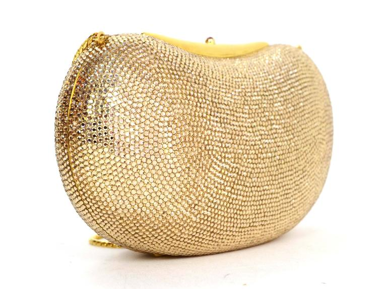 Judith Leiber Bronze Sworovski Crystal Bean Clutch Bag GHW 2