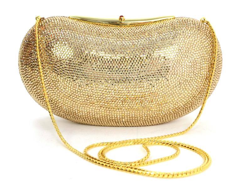 Judith Leiber Bronze Sworovski Crystal Bean Clutch Bag GHW 3