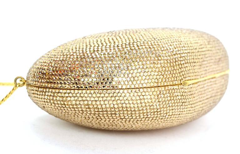 Judith Leiber Bronze Sworovski Crystal Bean Clutch Bag GHW 4