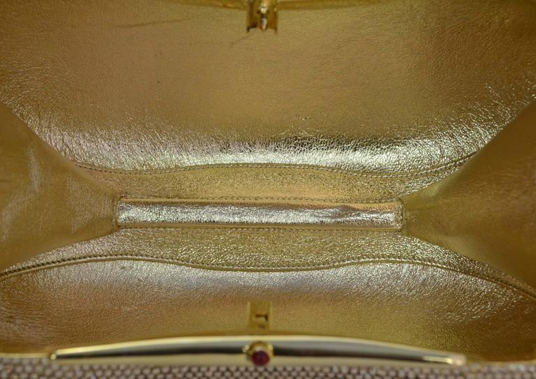Judith Leiber Bronze Sworovski Crystal Bean Clutch Bag GHW 7