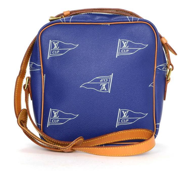 "Gucci Belt Serial Number >> Louis Vuitton Ltd Ed Vintage '92 Blue ""LV Cup"" Crossbody Bag GHW at 1stdibs"