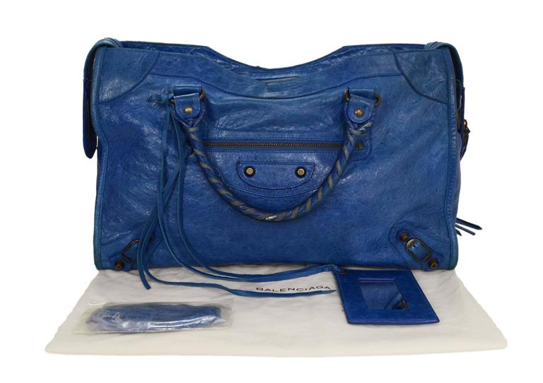 "Balenciaga Blue Distressed Leather ""City"" Bag BHW For Sale 5"