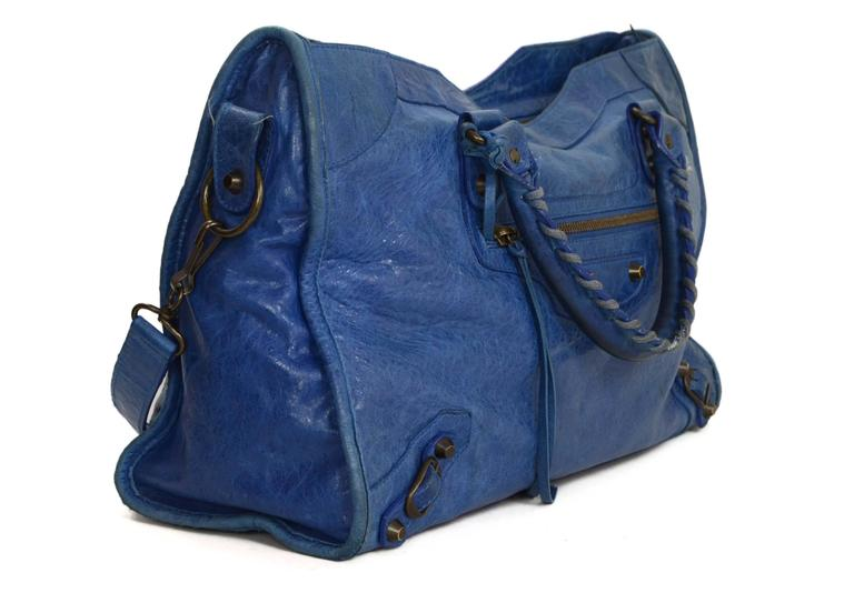 "Balenciaga Blue Distressed Leather ""City"" Bag