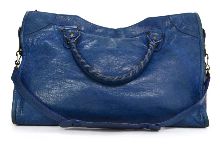 "Balenciaga Blue Distressed Leather ""City"" Bag BHW In Good Condition For Sale In New York, NY"