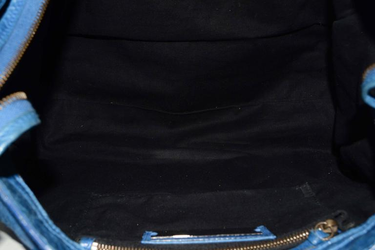 "Balenciaga Blue Distressed Leather ""City"" Bag BHW For Sale 2"