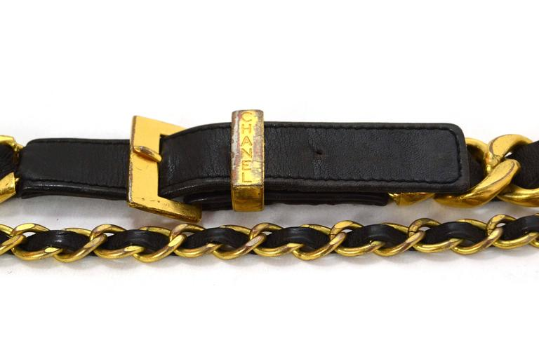 Chanel Vintage '93 Leather Woven Chain Link Belt