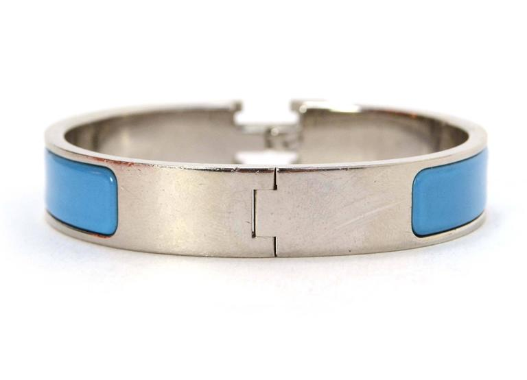 Hermes narrow turquoise enamel h clic clac bangle pm for for Housse clic clac new york