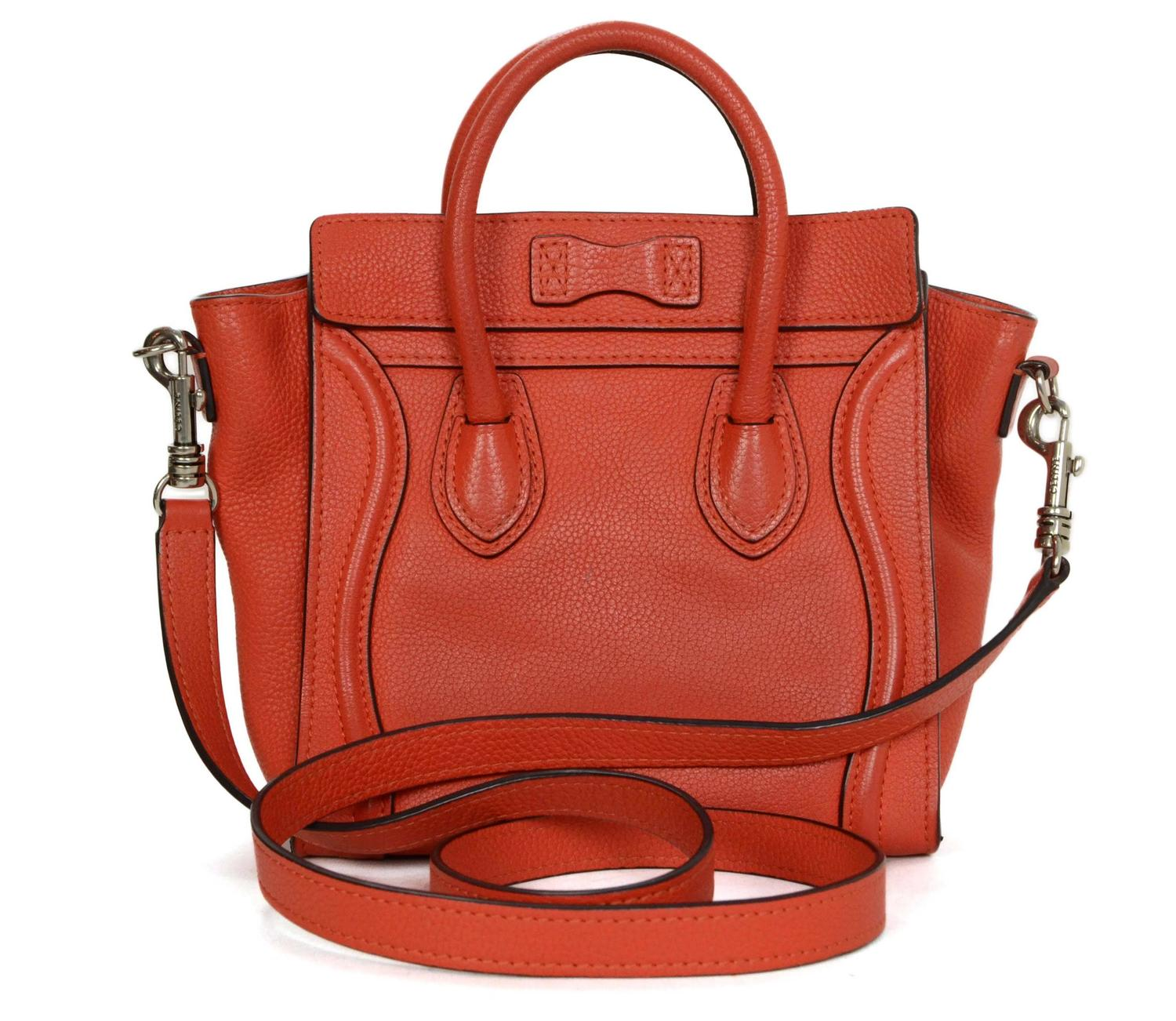 replica celine nano - Celine Orange Drummed Leather Nano Luggage Bag SHW at 1stdibs