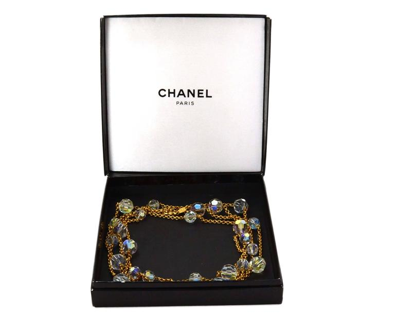 Chanel Vintage '88 Gold Chain Link Crystal Beaded Long Necklace 5