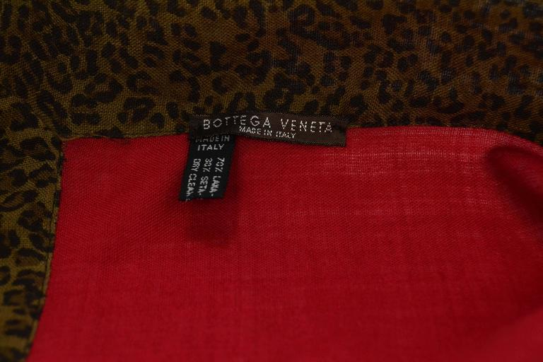 Red Bottega Veneta Burgundy & Leopard Print Wool Scarf For Sale