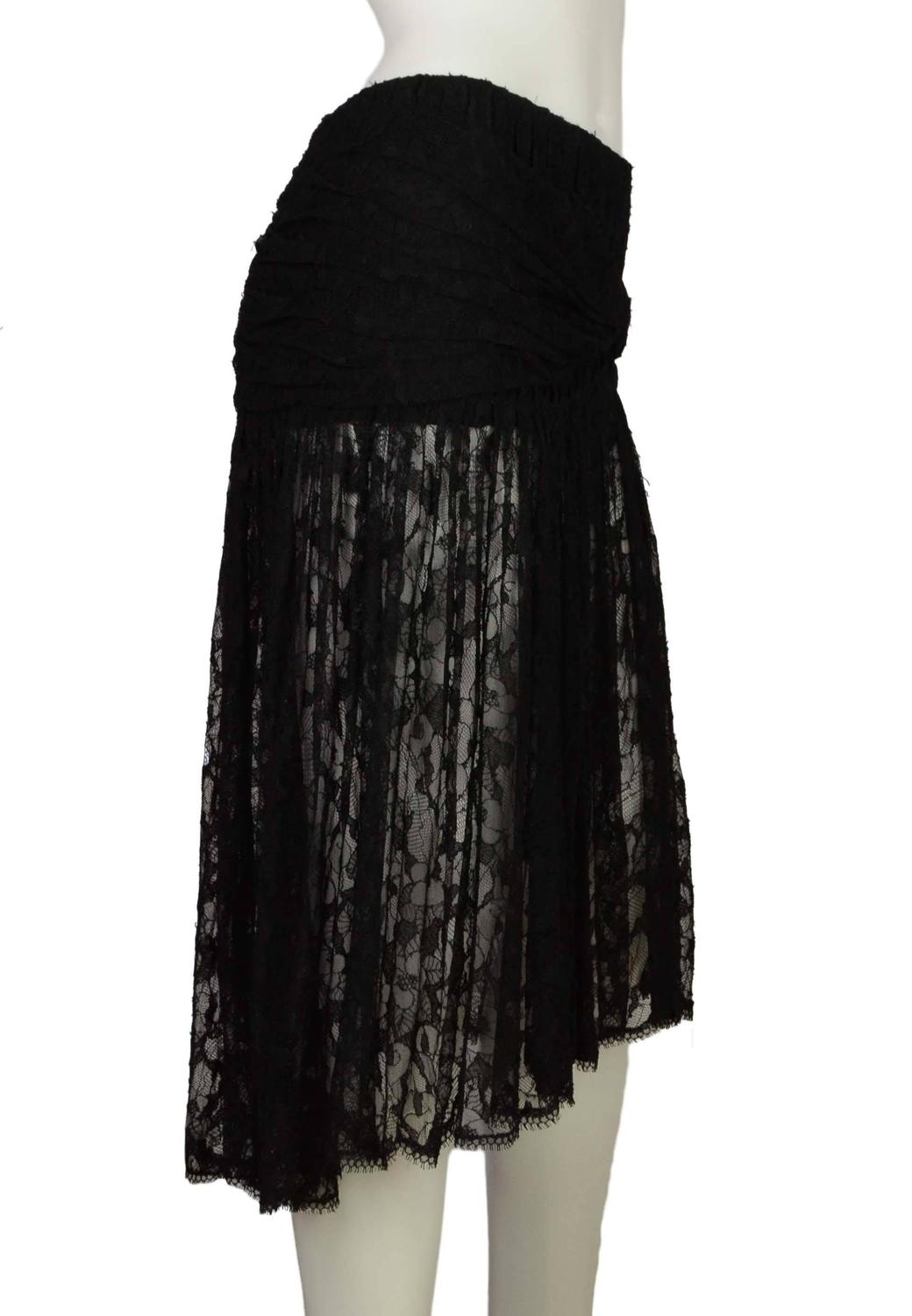 chanel black lace pleated high low skirt sz 38 at 1stdibs