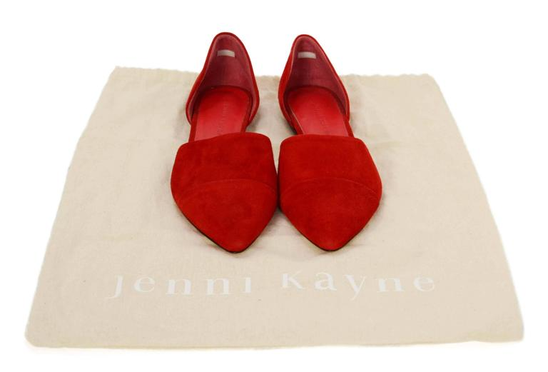 Jenni Kayne Red Suede D'Orsay Flats sz 37 For Sale 4