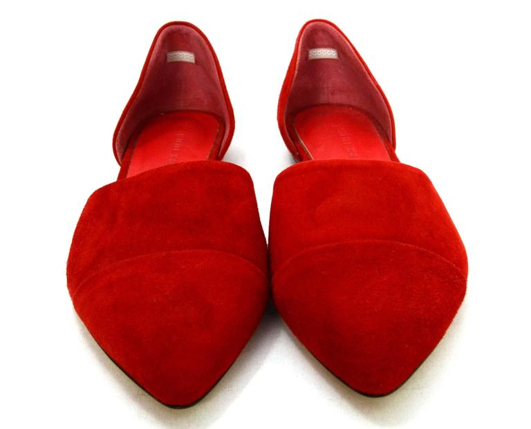Jenni Kayne Red Suede D'Orsay Flats sz 37 In Excellent Condition For Sale In New York, NY