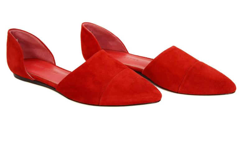 Women's Jenni Kayne Red Suede D'Orsay Flats sz 37 For Sale