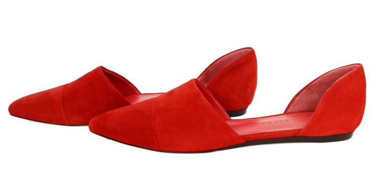 Jenni Kayne Red Suede D'Orsay Flats  Features pointed toe Made In: Italy Color: Red Materials: Suede Closure/Opening: Slide on Sole Stamp: Jenni Kayne Made in Italy Vero Cuoio 37 Retail Price: $450 + tax Overall Condition: Excellent