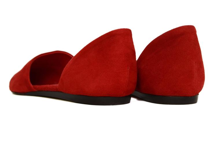 Jenni Kayne Red Suede D'Orsay Flats sz 37 For Sale 1