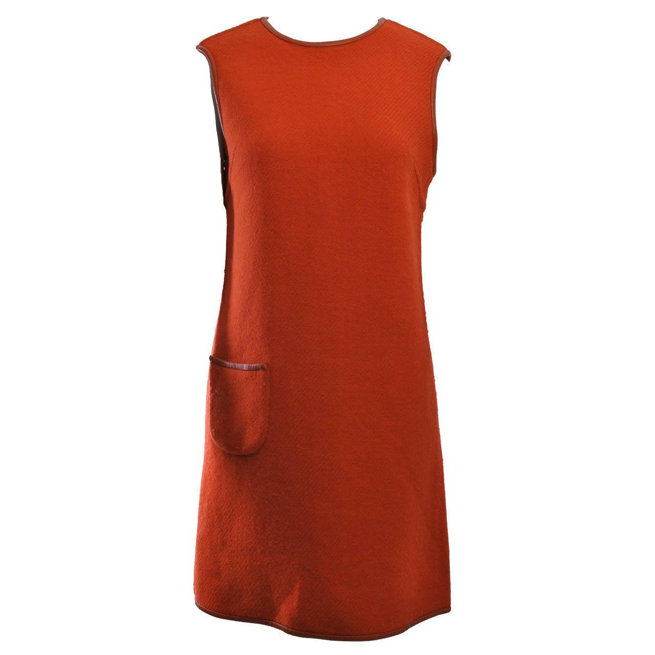 1960s Reversible Wool Dress w/Leather Trim