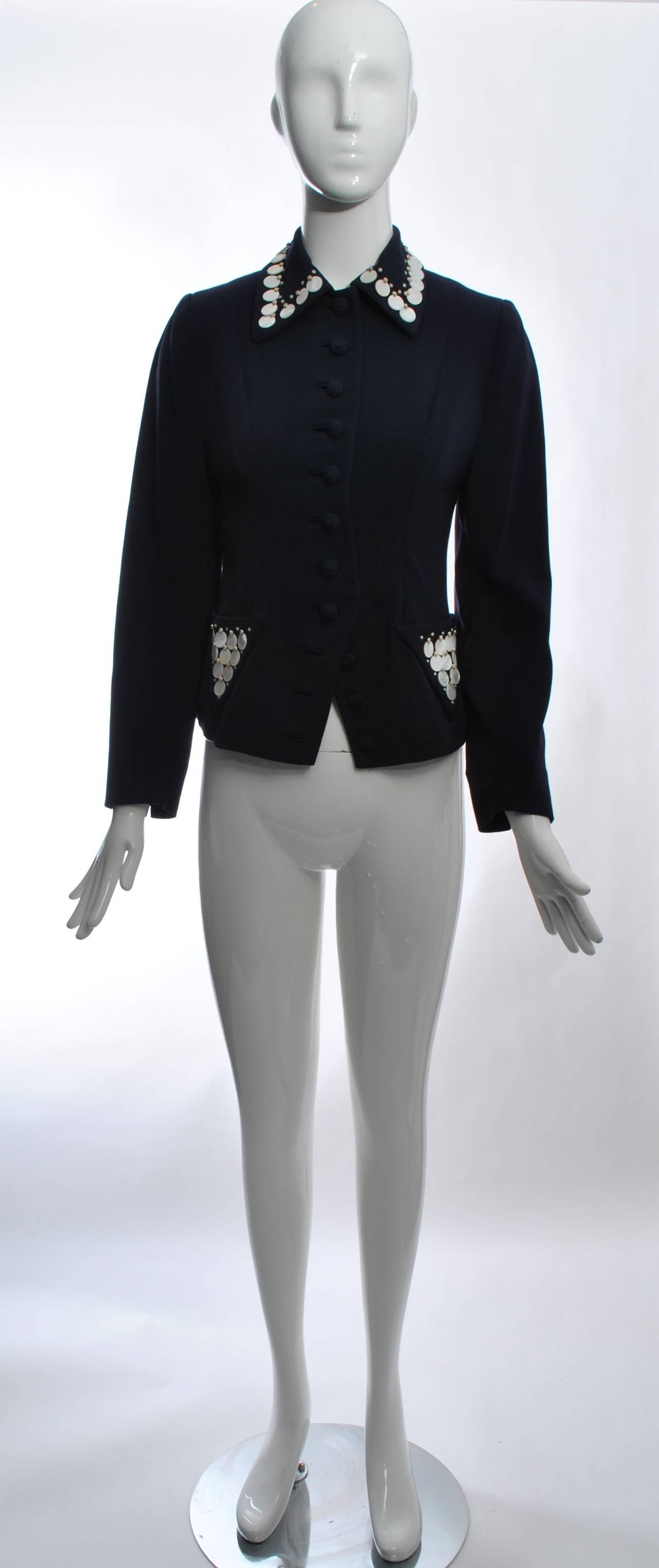1950s Navy Jacket With Mop Trim For Sale At 1stdibs