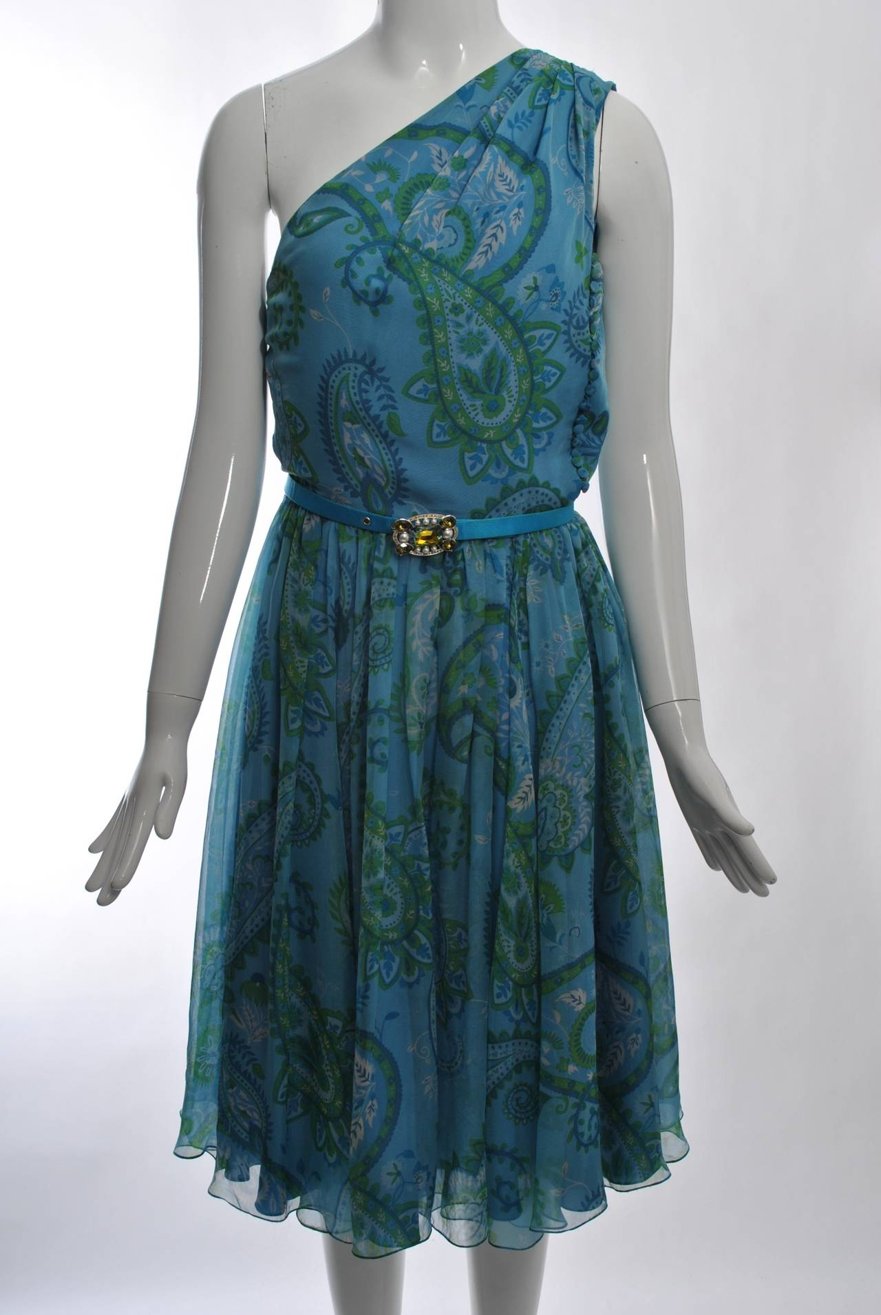 Dior paisley chiffon one shoulder dress at 1stdibs for Dior couture dress price