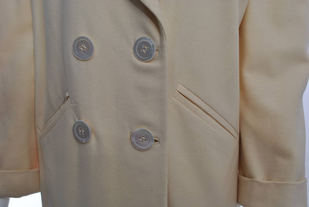 Brown 1940s White Wool Jacket For Sale