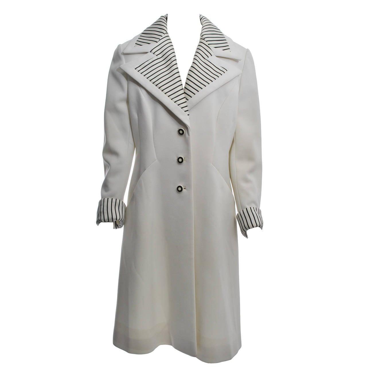 Lilli Ann White Coat w/Striped Detail, Large Size