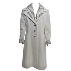 Lilli Ann White Coat w/Striped Detail, Large Size