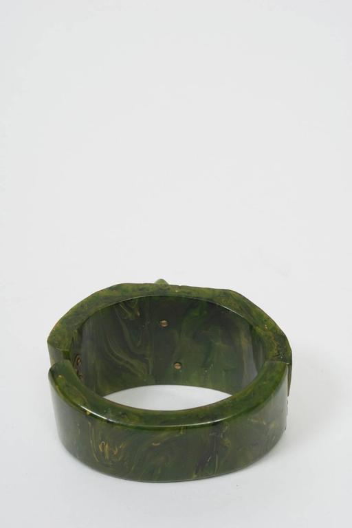 Bakelite Green Hinged Bangle For Sale 1
