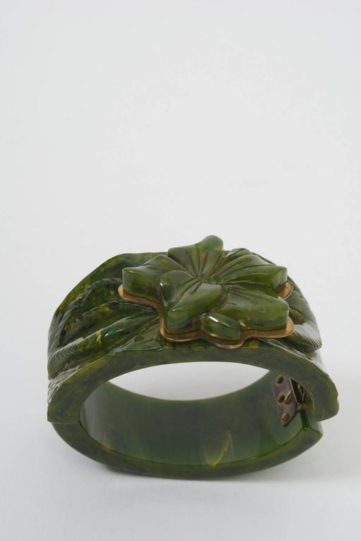 Bakelite Green Hinged Bangle 2
