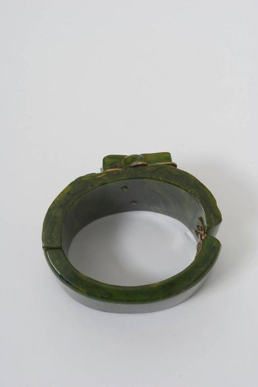 Bakelite Green Hinged Bangle For Sale 3