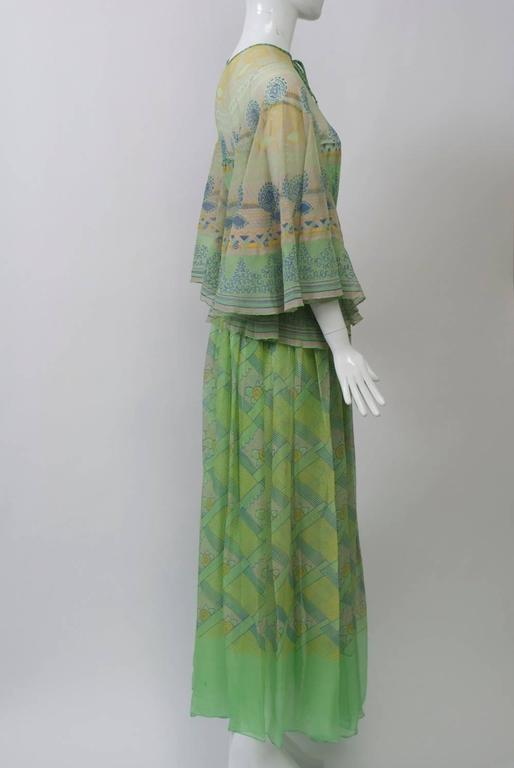 Zandra Rhodes Green Print Gown For Sale At 1stdibs
