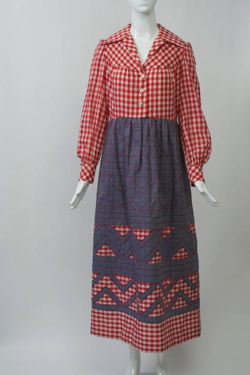1970s Gingham And Denim Maxi Dress For Sale At 1stdibs