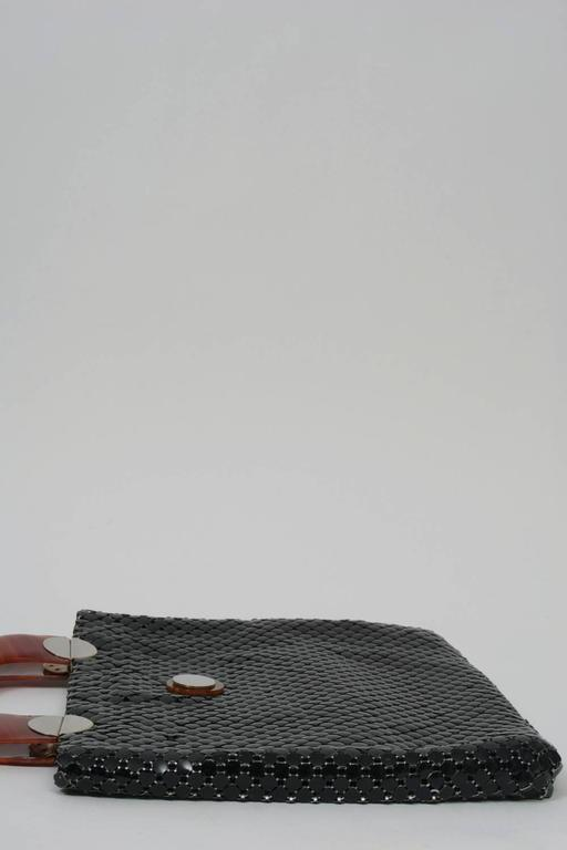 Whiting & Davis Black Mesh Tote In Excellent Condition For Sale In Alford, MA