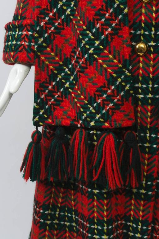 Black Red Plaid Coat with Scarf For Sale