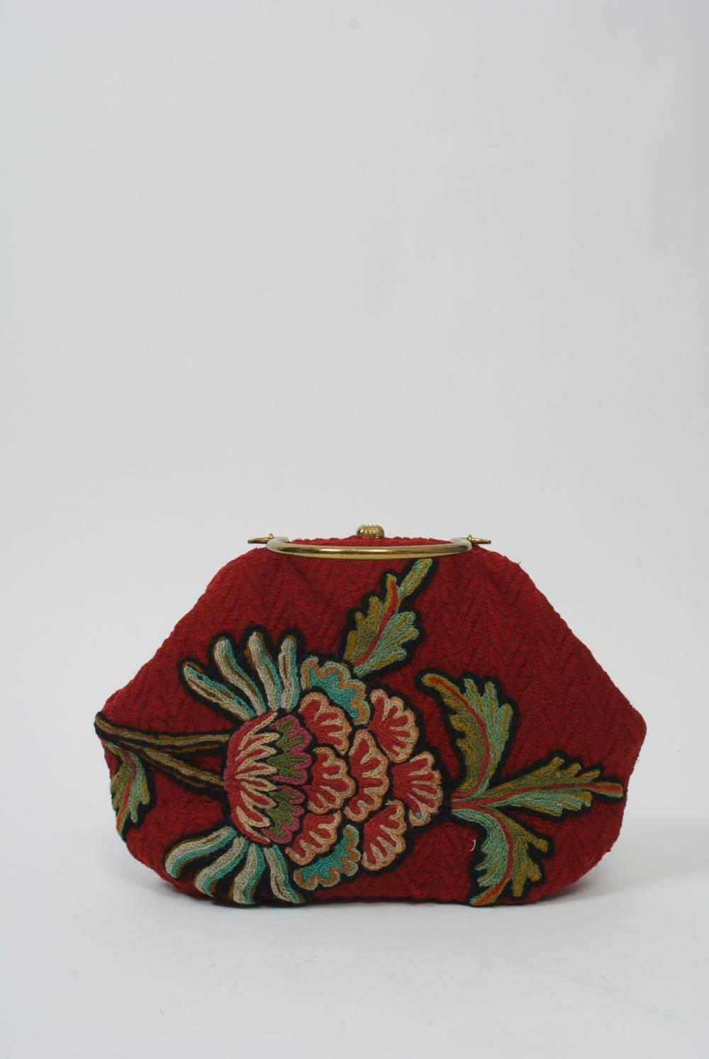 1stdibs Morris Moskowitz Red Crewel Handbag uFuKN2I6Zb
