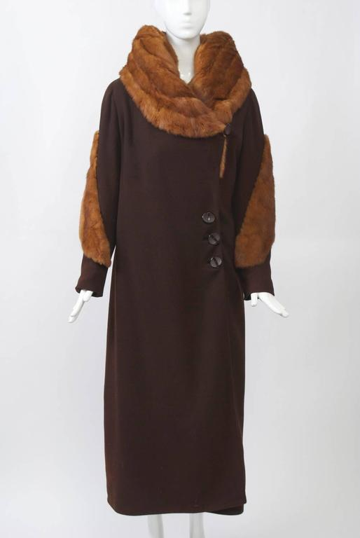 1930s Fur Trimmed Coat In Excellent Condition For Sale In Alford, MA