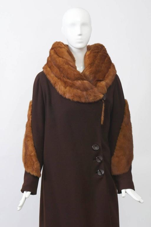 Women's 1930s Fur Trimmed Coat For Sale