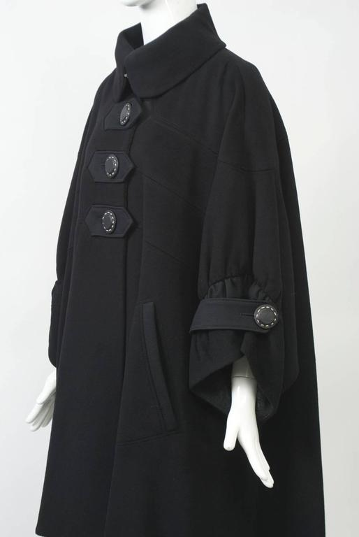 Kenzo Black Cashmere Coat In Excellent Condition For Sale In Alford, MA