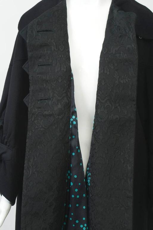Kenzo Black Cashmere Coat For Sale 4