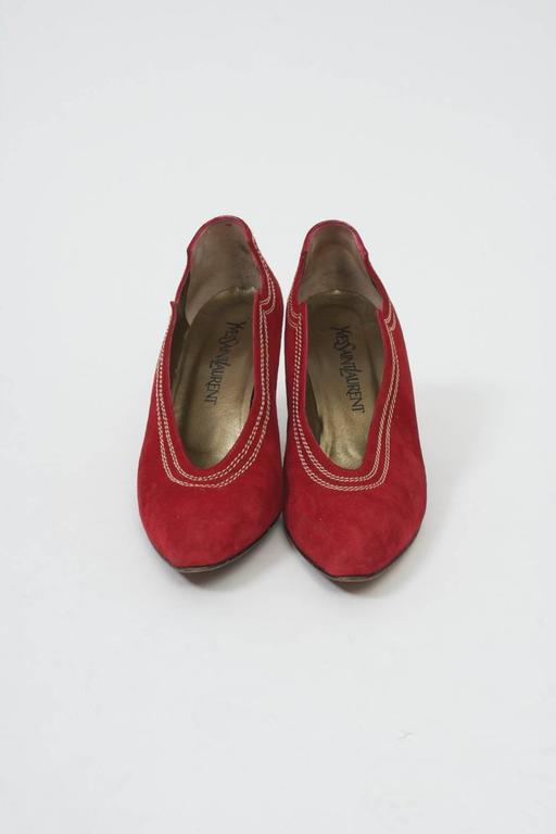 Ysl Red Suede Pumps At 1stdibs
