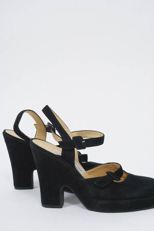 Dolce & Gabbana Black Suede Platform Shoes In Excellent Condition For Sale In Alford, MA