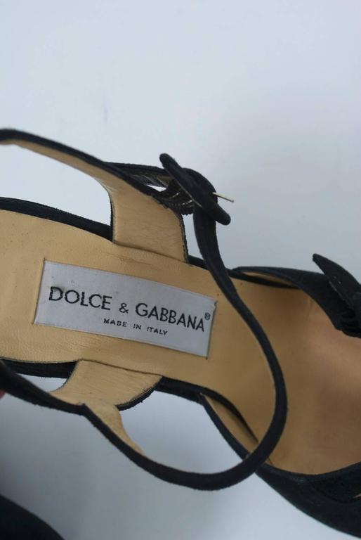 Dolce & Gabbana Black Suede Platform Shoes 7