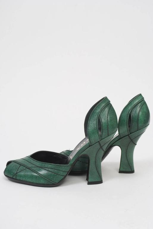 Women's Prada Green Leather D'Orsay Pumps For Sale