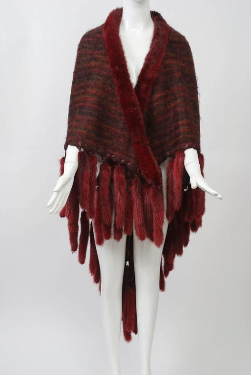 Black Fur-Trimmed Mohair Shawl For Sale
