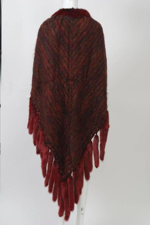 Fur-Trimmed Mohair Shawl In Excellent Condition For Sale In Alford, MA
