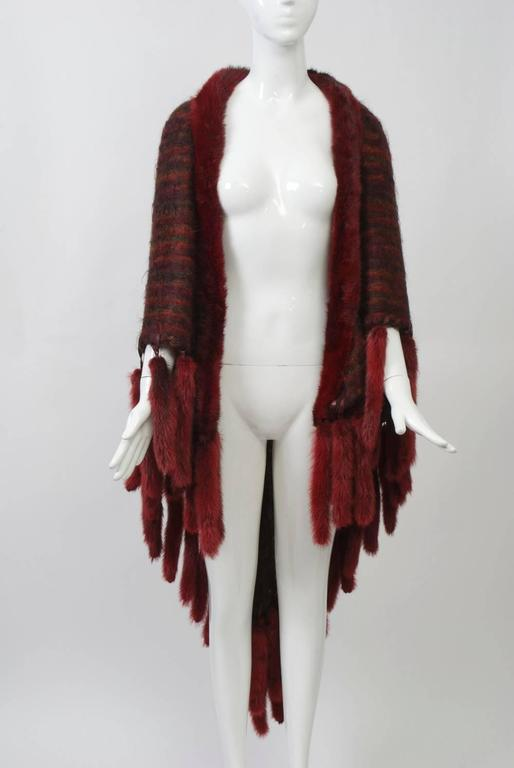 Fur-Trimmed Mohair Shawl For Sale 2