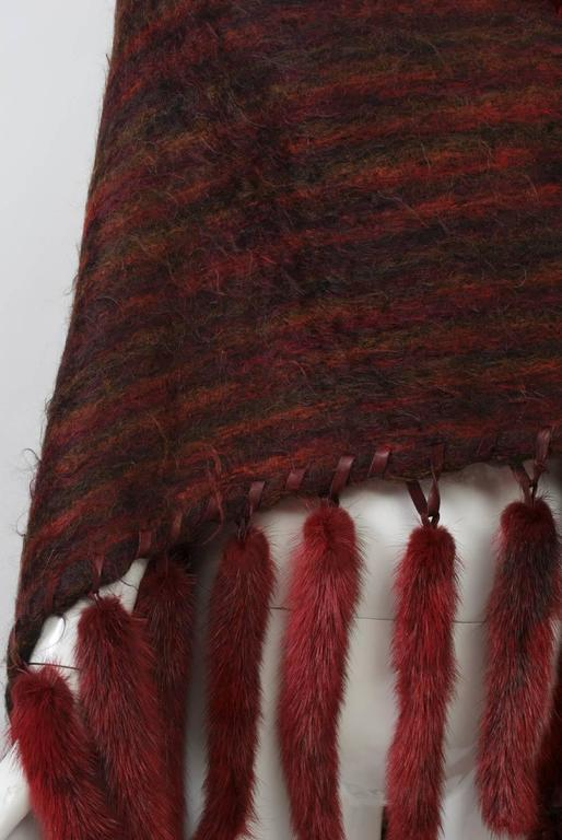 Fur-Trimmed Mohair Shawl For Sale 3