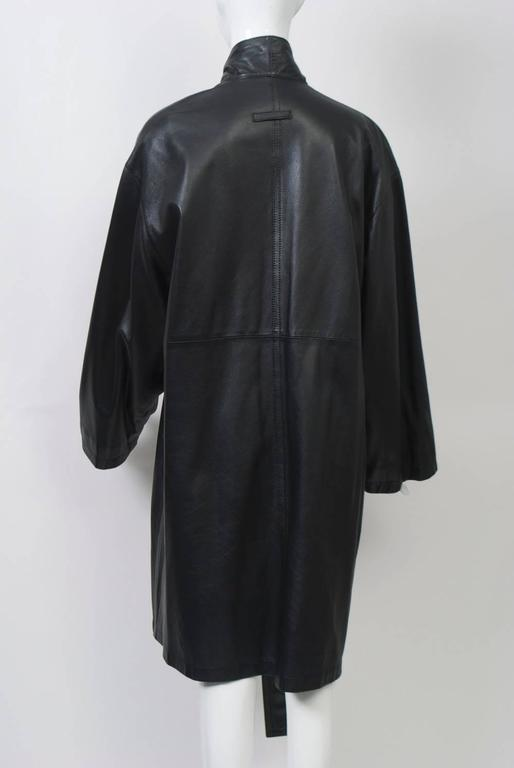 Gaultier Black Leather Coat For Sale 1