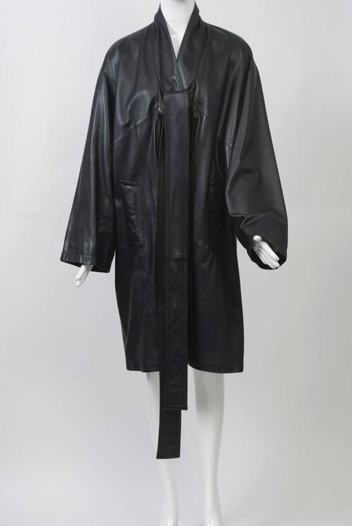 Women's Gaultier Black Leather Coat For Sale