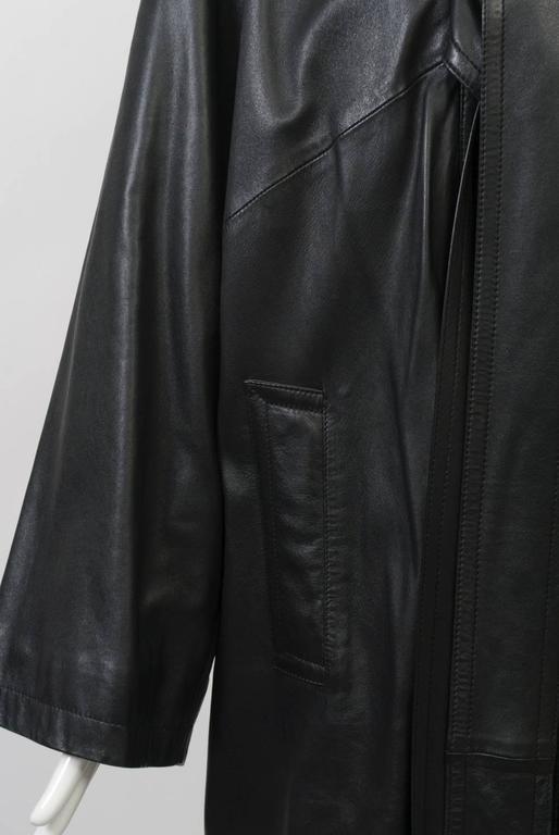 Gaultier Black Leather Coat For Sale 3