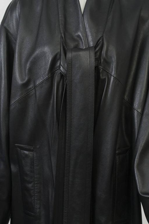 Gaultier Black Leather Coat In Excellent Condition For Sale In Alford, MA